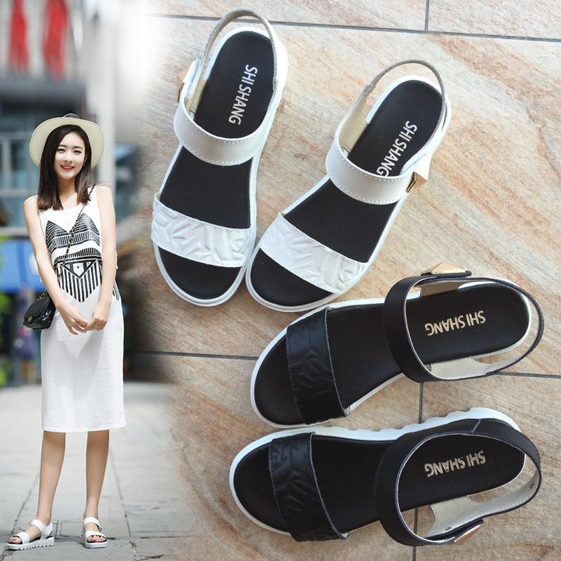 學生涼鞋孕婦真皮簡約女士平底防滑