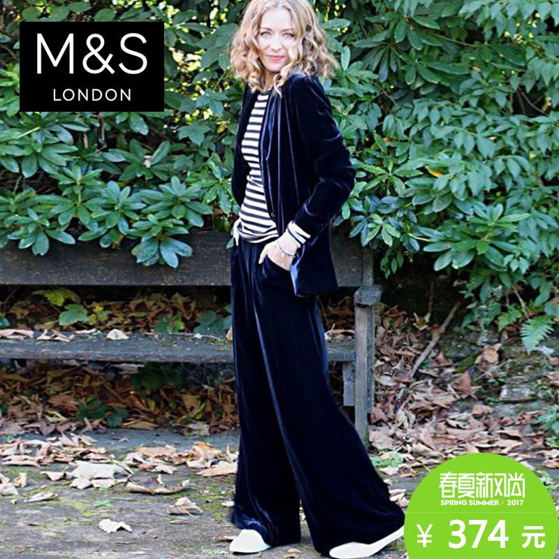 聚促M&S/马莎 女Buttonsafe柔软天鹅绒阔腿裤 T592913T