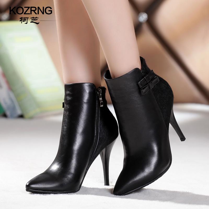 欧美秋季新款真皮细高跟尖头时装靴裸靴短靴拼接马毛女靴子包邮