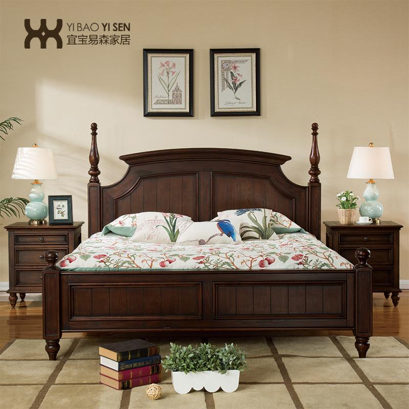 床美式乡村家具美式田园婚床欧式双人床黑胡桃色床