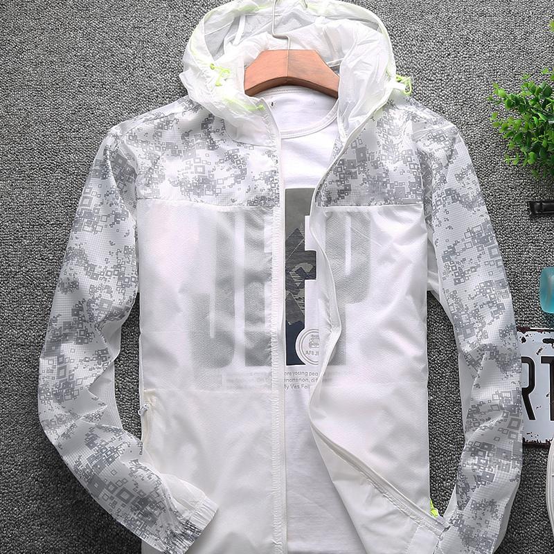 防曬夏季男士皮膚白色外套戶外夾克超薄上衣