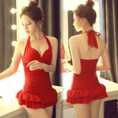 泳衣女 保守遮肚显瘦连体裙式小胸聚拢 韩国性感露背泡温泉游泳衣