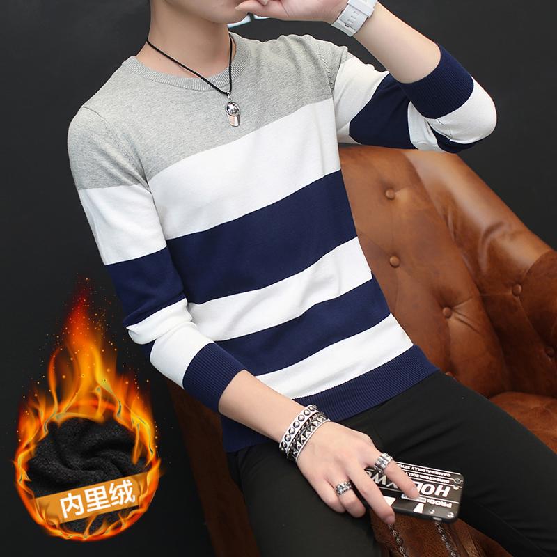 纯棉秋冬男士套头毛衣男圆领韩版学生线衣男装加绒加厚针织衫外套
