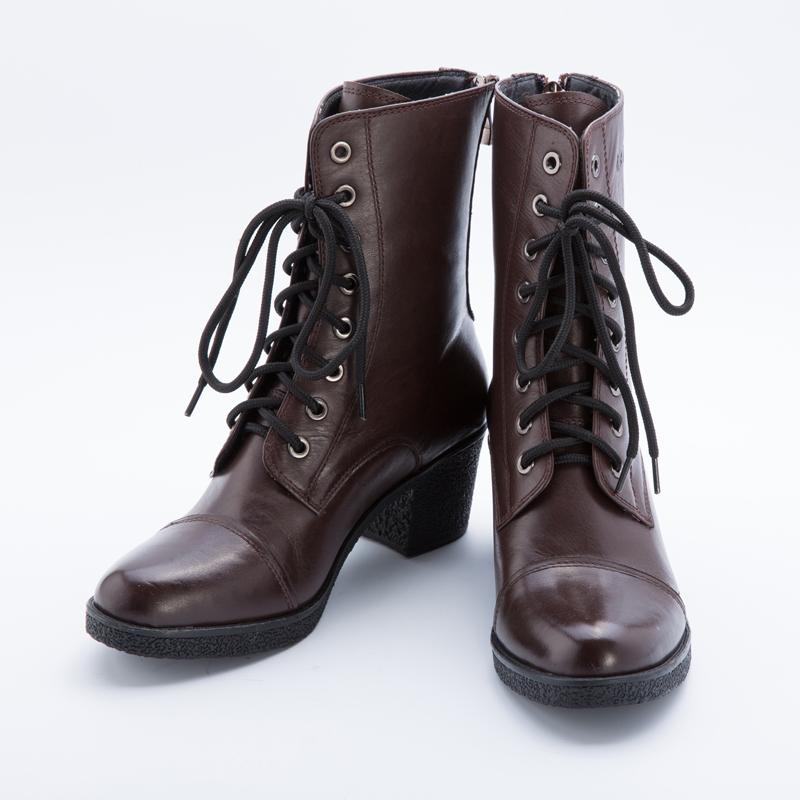 武士龍B01 欧美新款厚底高跟马丁靴潮女加绒真皮复古英伦短筒靴