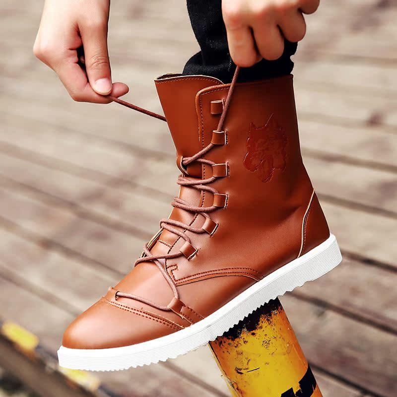雅煊春秋季新品绑带高帮板鞋压花户外防滑休闲运动鞋青年个性男鞋