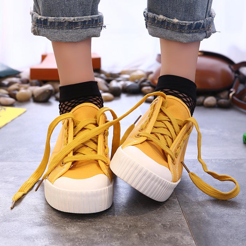 学生帆布鞋百搭小白鞋板鞋厚底休闲春季女鞋环球系带