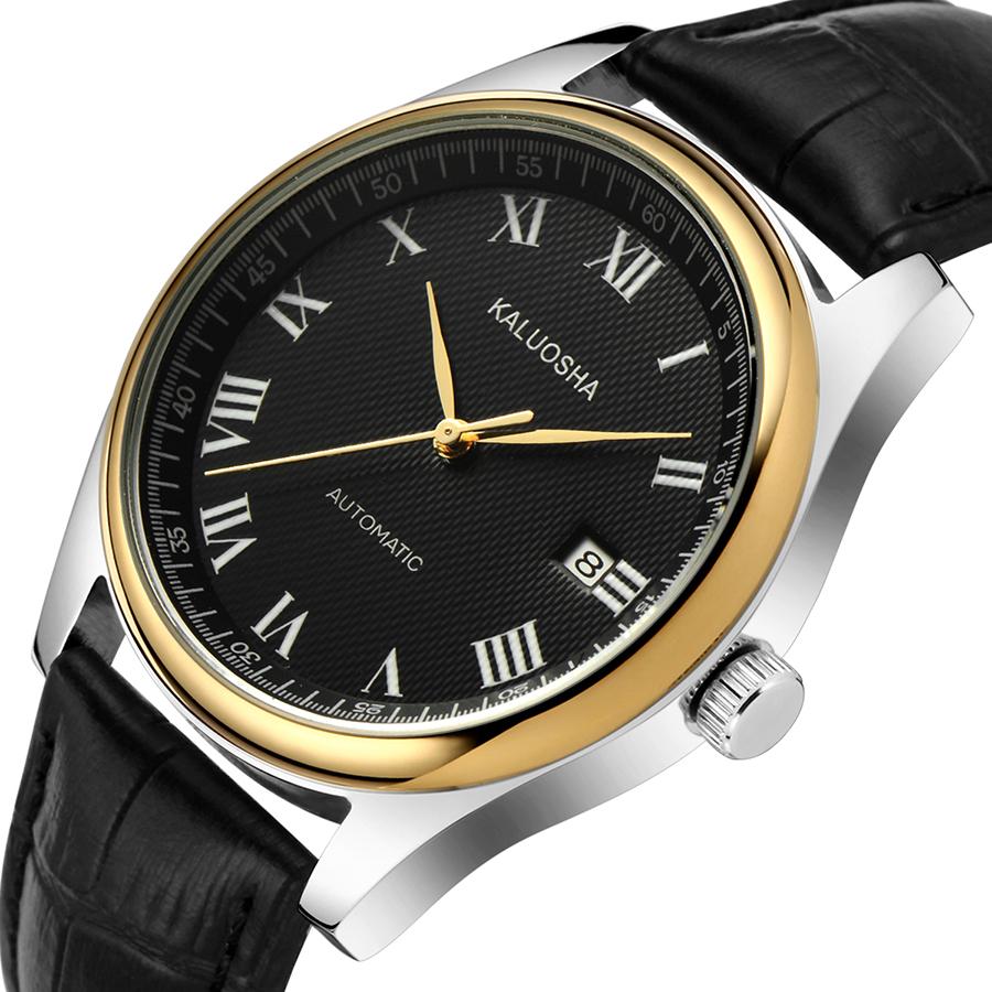 瑞士正品卡罗莎机械男表 超薄商务男表 防水男表 钢带 皮带腕表