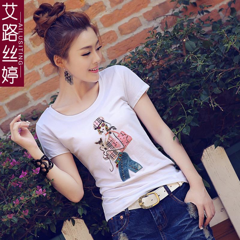 艾路絲婷新款夏裝女裝印花短袖棉T恤修身圓領白色體恤女7022