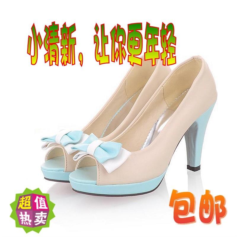 2014夏季新款高跟细跟鱼嘴蝴蝶结防水台拼色纯色小清新女凉鞋单鞋