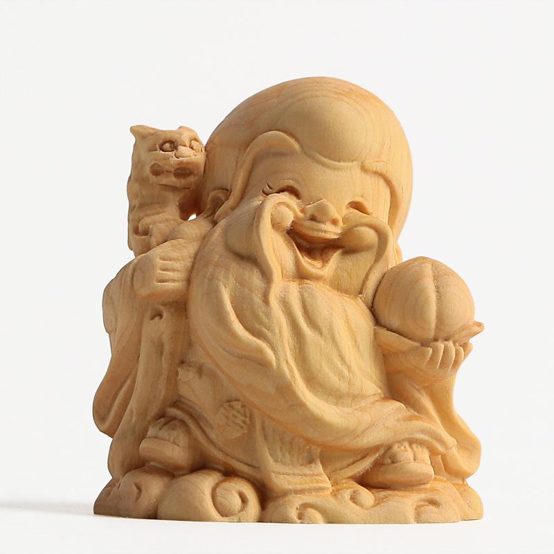 佛像木雕卡通q版寿星摆件黄杨木弥勒佛礼品收藏品