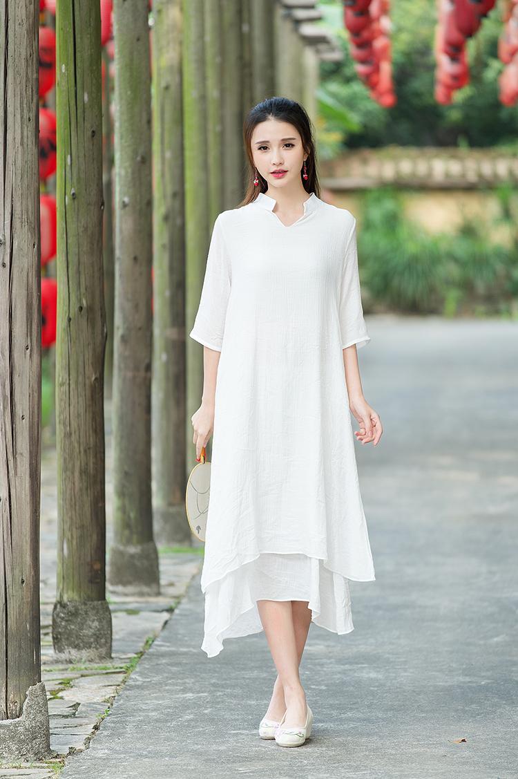 子牧棉麻 夏装新款中国风古典改良汉服连衣裙短袖收腰中长裙9355