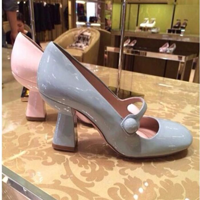 2015早春新款单鞋复古小清新玛丽珍搭带高跟鞋 真皮女鞋