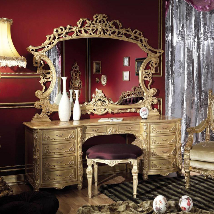 欧式梳妆台新古典实木雕刻后现代金银箔家具豪宅