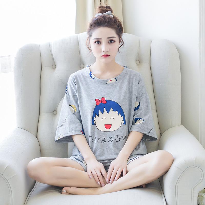 学生纯棉甜美卡通短袖可爱夏天睡衣套装家居服
