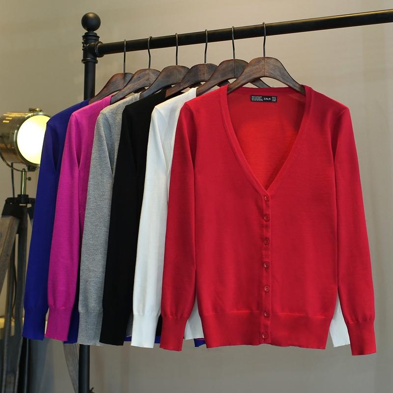 薄款大码外搭毛衣外套春秋领韩版夏短款修身长袖 针织开衫