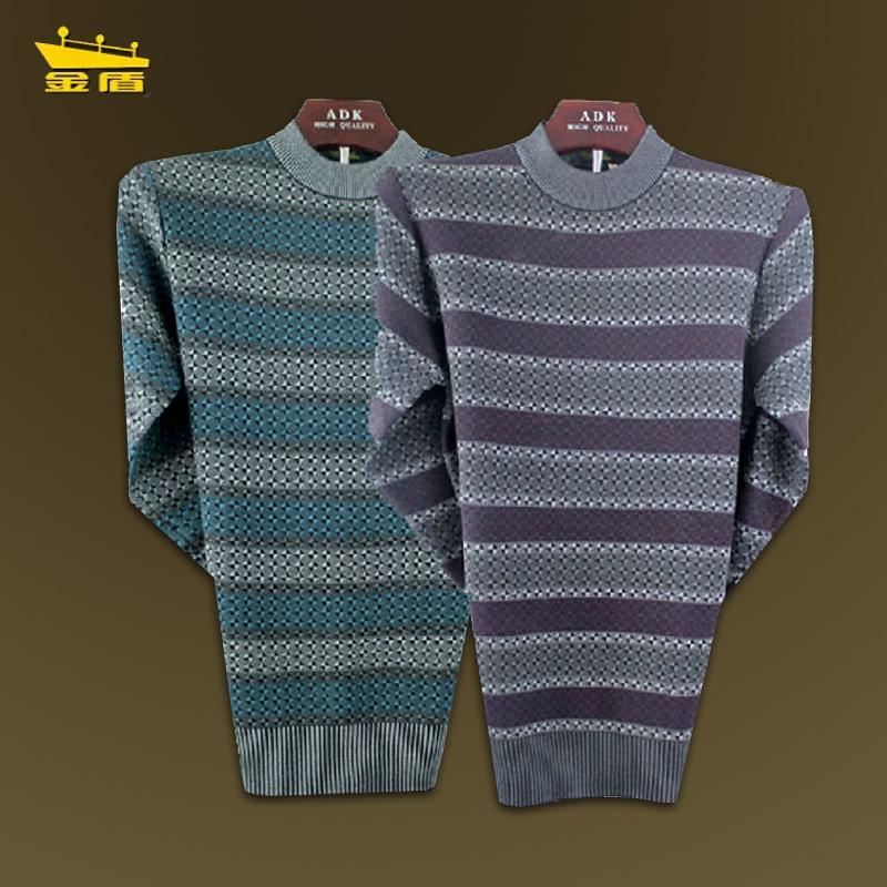 金盾男士羊毛衫休闲毛衣男式针织衫圆领衫男新款羊绒衫正品特价