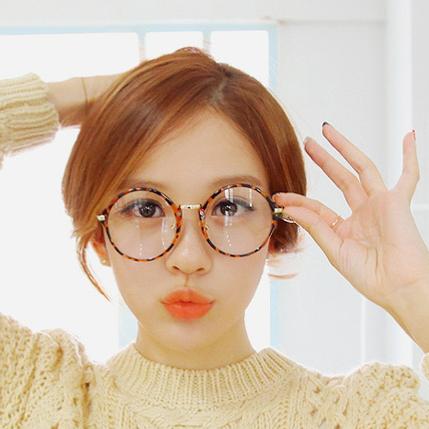韩国代购配饰圆框复古装饰眼镜框非主流豹纹潮男女款近视时尚情侣