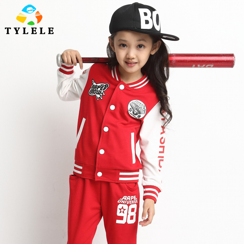 童装2014春秋季女童棒球服纯棉套装 中大童韩版运动休闲字母2件套