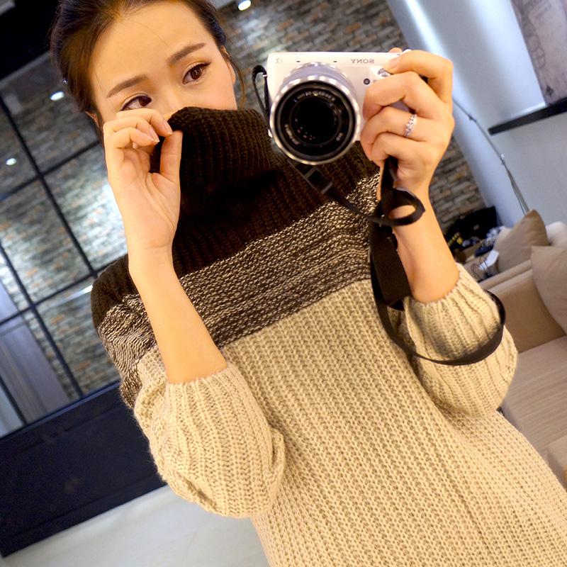 新款女装2014秋冬韩版宽松外套打底针织衫加厚中长款套头高领毛衣