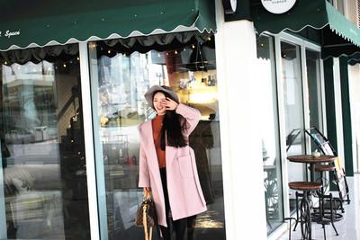 藕粉色裸粉超长大衣连帽外套超大翻领羊毛呢子浴袍式宽松韩国代购
