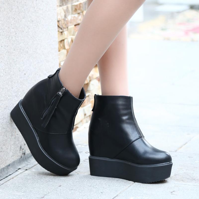 2014秋冬明星款欧美时尚坡跟厚底短靴内增高防水台女靴时尚裸靴