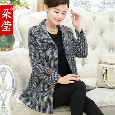 [秋装上新] 中老年女装秋装外套妈妈装呢大衣中年妇女40-50岁上衣老年人风衣