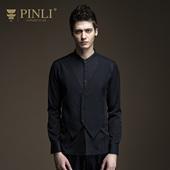 PINLI品立旗舰店2017春秋新品男装时尚假两件长袖衬衫拼接衬衣潮