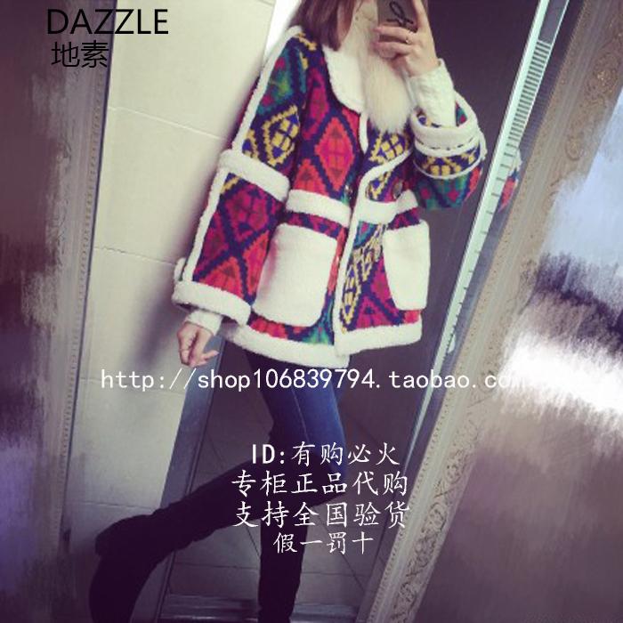 现货DAZZLE地素秋冬花呢料翻领羊羔毛拼色外套专柜代购244G250