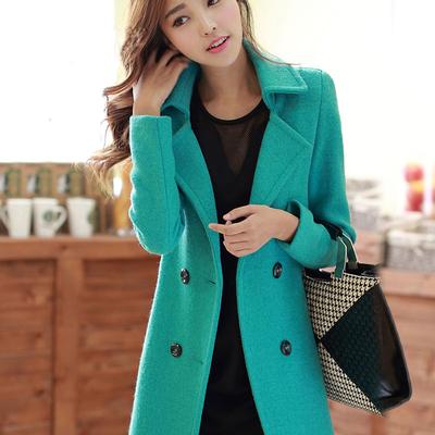 [清仓降价] 2015秋冬新款呢子大衣 韩版修身显瘦羊毛中长款毛呢外套大码女装