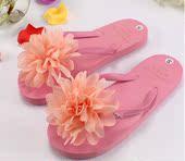 夏季雪纺大花朵凉拖蕾丝平底可爱人字拖鞋 包邮 糖果色 夏季新款