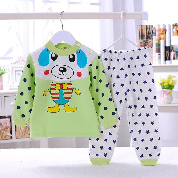 秋冬新款儿童套装不倒绒肩扣宝宝内衣套装秋衣秋裤加厚保暖套装