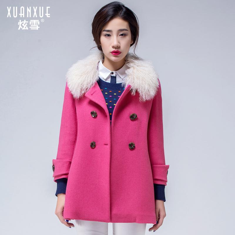 2014新款羊羔领羊毛毛呢大衣潮韩版毛呢中长款外套女韩范正品冬装