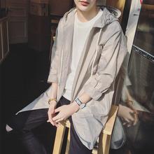 夏季情侣装防晒衣男女生韩版外套宽松风衣薄款中长款连帽皮肤衣衫