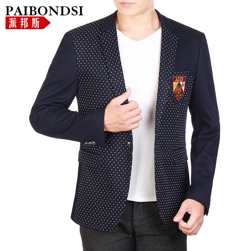 派邦斯2014新款男士秋装外套修身一粒单排扣中年休闲外套 男西服