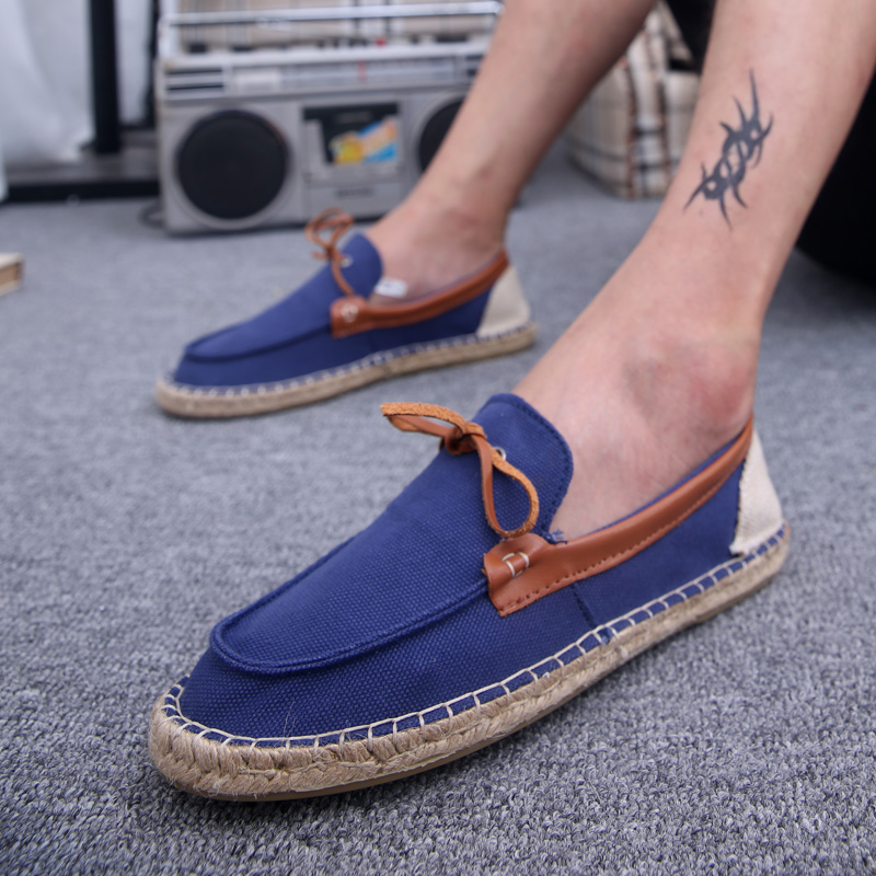 夏季流行男鞋时尚潮鞋日常休闲帆布鞋低帮一脚蹬懒人鞋韩版草编鞋
