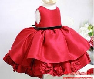 纯手工玫瑰花缎面小礼服