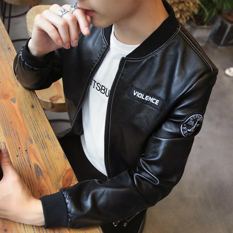 春秋季男士皮衣韩版修身立领短款休闲机车PU皮夹克男青年外套薄款