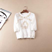 甜美欧根纱时尚刺绣螺纹圆形领5分袖套头T恤打底衫0.170H5-1