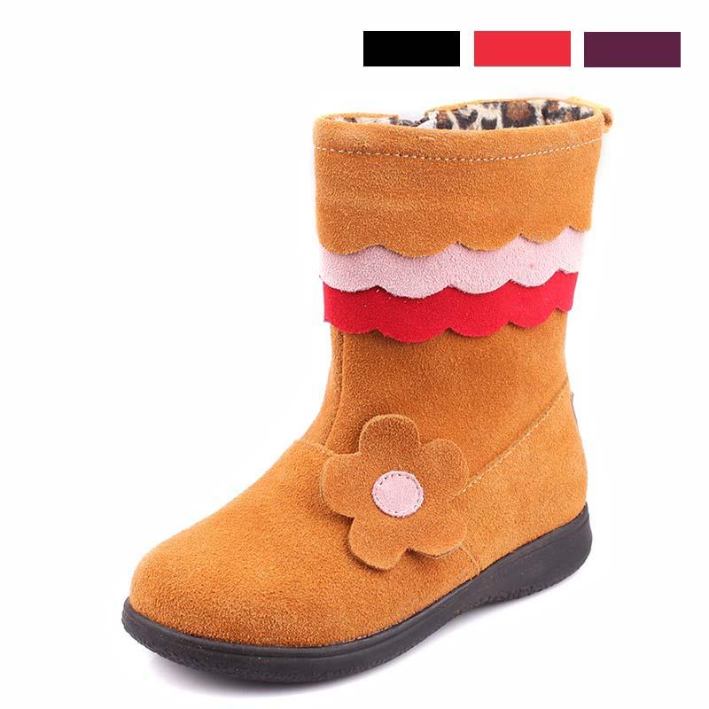 2014正品斯乃纳冬款新款 女童中筒小花牛皮靴子SP148356 SP148358