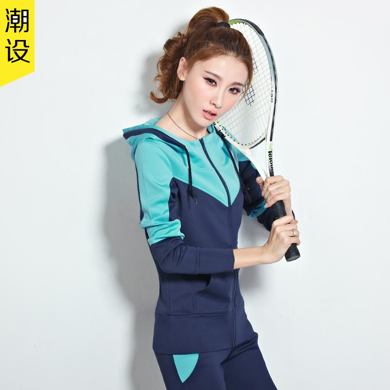潮设2015春夏新款运动套装女夏 潮流休闲套装韩版运动服大码显瘦