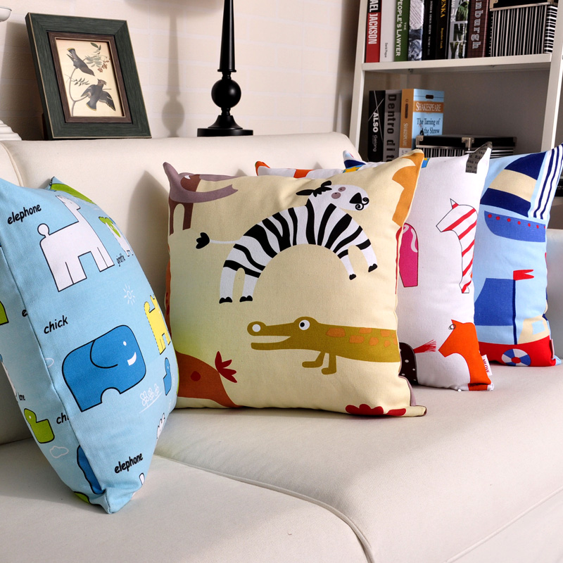 米乐 人气 卡通图案全棉帆布抱枕沙发汽车抱枕靠垫套靠枕套腰枕