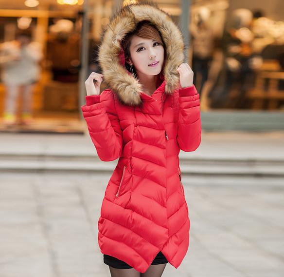 2014冬季新款高档气质女品牌韩式时尚收腰大毛领女士中长款棉服棉