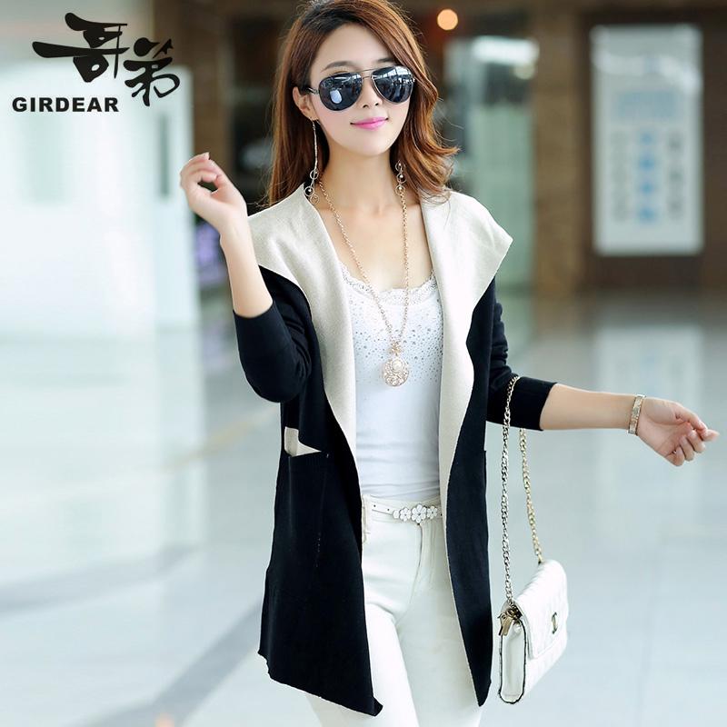 2014新款正品代购秋装连帽针织衫修身长袖中长款开衫 毛衣外套 女