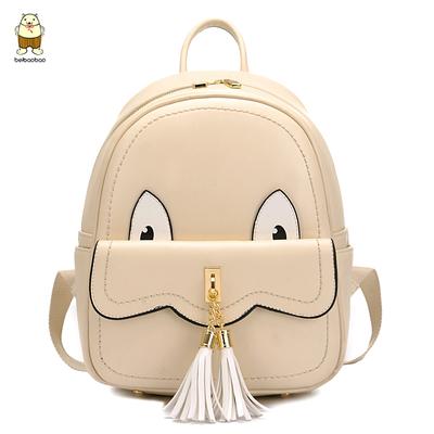 新款中学生书包双肩包pu女背包可爱韩版流苏女包潮