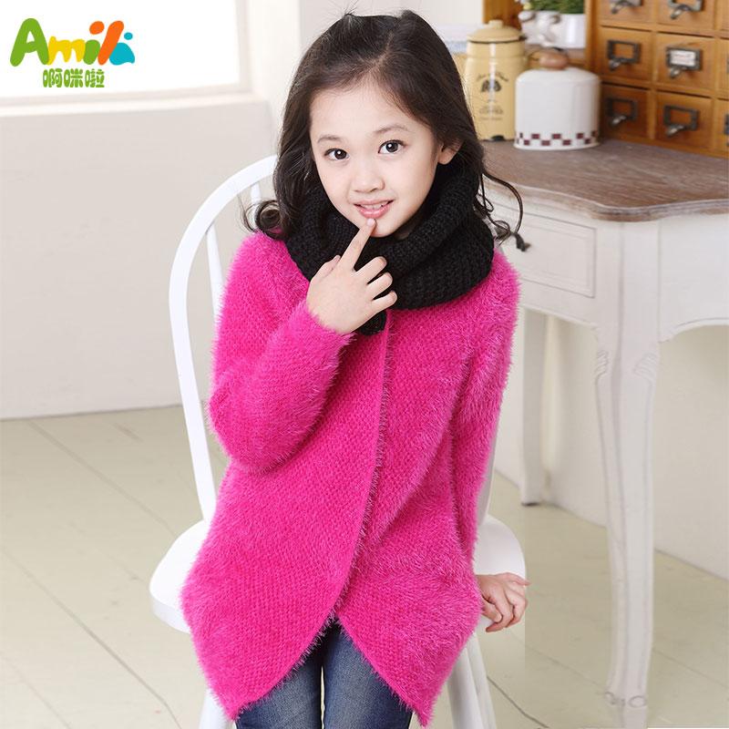 女童毛衣外套加厚儿童毛衣2014针织新款女大童毛衣中长款开衫冬装