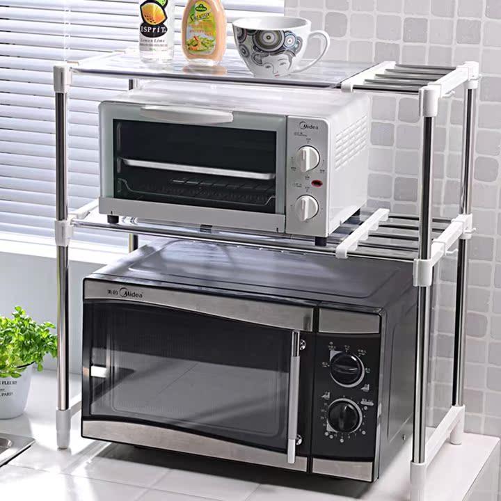 锈钢可调伸缩微波架子双层包邮微波炉烤箱电器架厨房用品置物架不