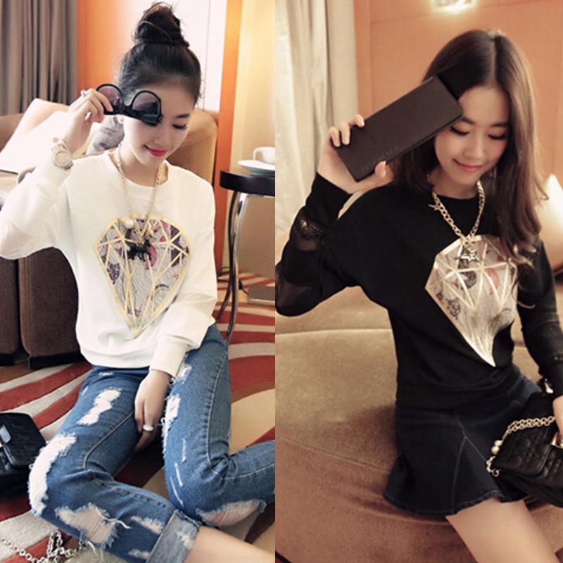 蘑菇街闺蜜装小衫女装潮2014秋装新款蕾丝拼接长袖雪纺女T恤上衣