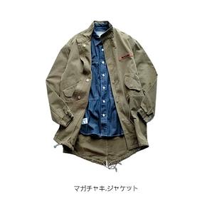 新款美式街头复古水洗军绿中长款夹克男 立领工装做旧改良m51外套