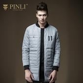 PINLI品立2016秋季新品男中长款羽绒服修身立领男外套D164108072