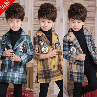 男童10格子8风衣韩版7毛呢子6大衣5儿童9春装4岁男孩子中大童外套